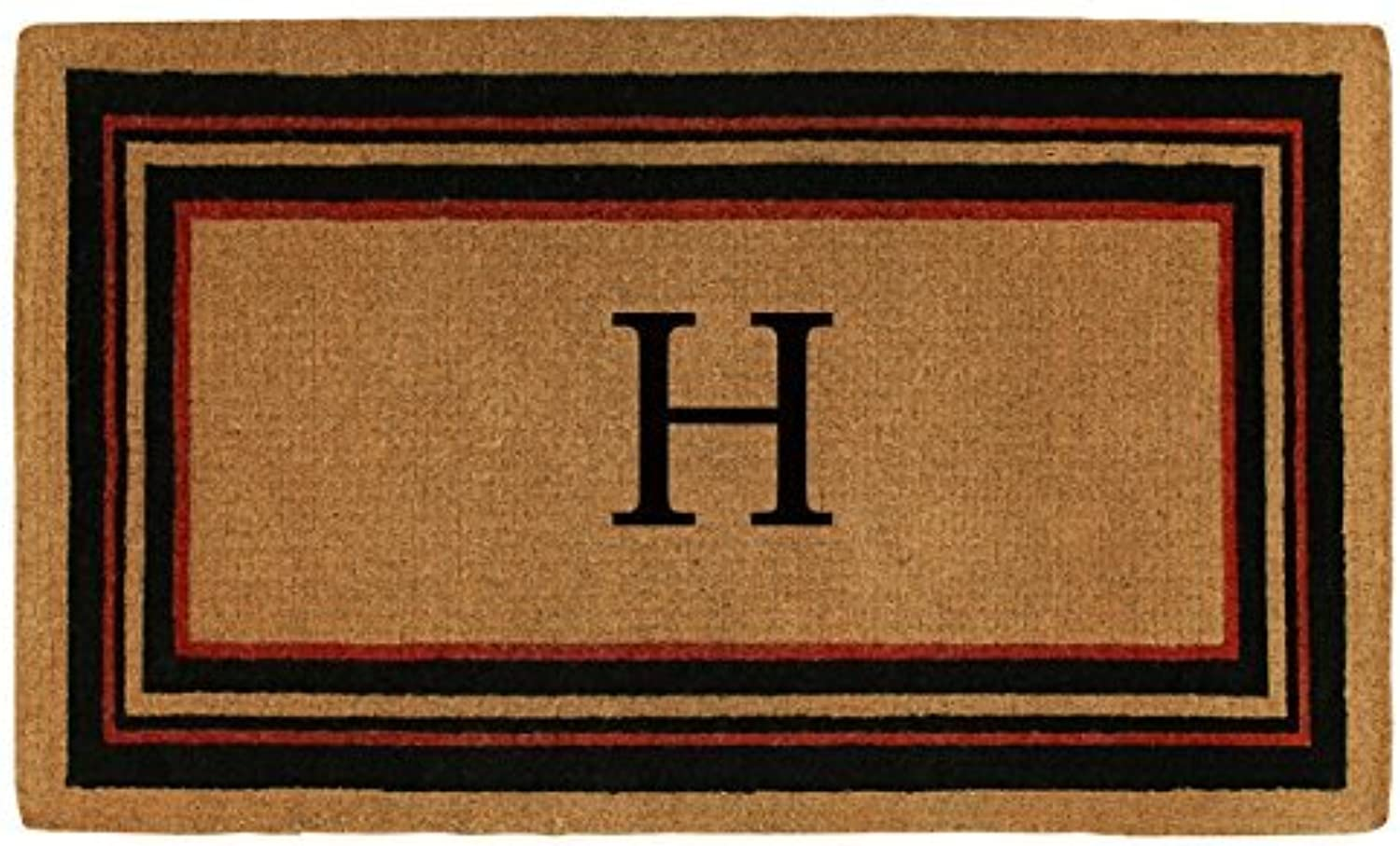 Home & More 180062436H Esquire Extra-thick Doormat, 24  x 36  x 1.50 , Monogrammed Letter H, Natural Black Red