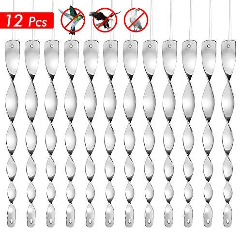 NATEE 12 Stück Reflektierende Windspirale Vogelschreck Vogelabwehr zur Vogel abwehr, Specht, Raben, Tauben, Vögel vertreiben, Dekoration für Balkon und Garten - Silber