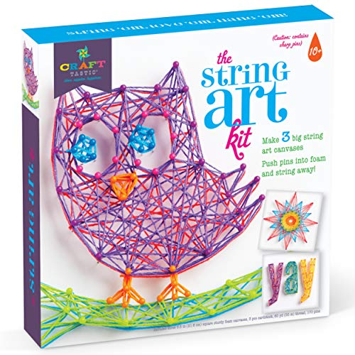 Craft-tastic DIY String Art – Craft Kit for Kids – Everything Included for 3 Fun Arts & Crafts Projects – Owl Series