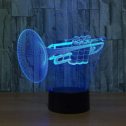 3D Illusie lamp Nacht Licht Slaaplamp Instrument Trompet Veranderende Bureau Tafellamp Muziekinstrumenten Thuis Decoratie USB 7 Kleuren (Afstandsbediening)