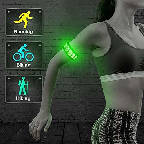 BSEEN LED Armband, Flashing Party Favor Glow Slap Bracelet, Light up Sports Arm Bands for Running, Cycling, Jogging, Hiking, Dog Walking(Green-Design III-Logo)