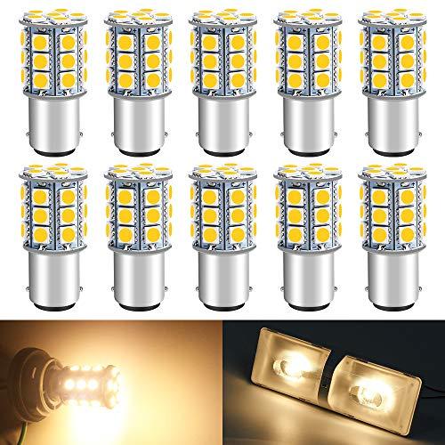 DEFVNSY - Paket med 10-6500K 1142 BA15D LED-lampor 5050 27-SMD ersättningslampor för 12 V interiör husvagn släpvagn belysning båt gård ljus broms baklampor 1142 Warm White 5050 27smd