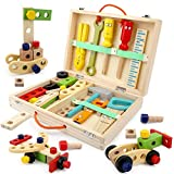 BeebeeRun Tool Kit for Kids Wooden Tool Box Set with Colorful Tools Pretend Play Toys Gifts for Toddlers Boys Girls Educational Construction Toy