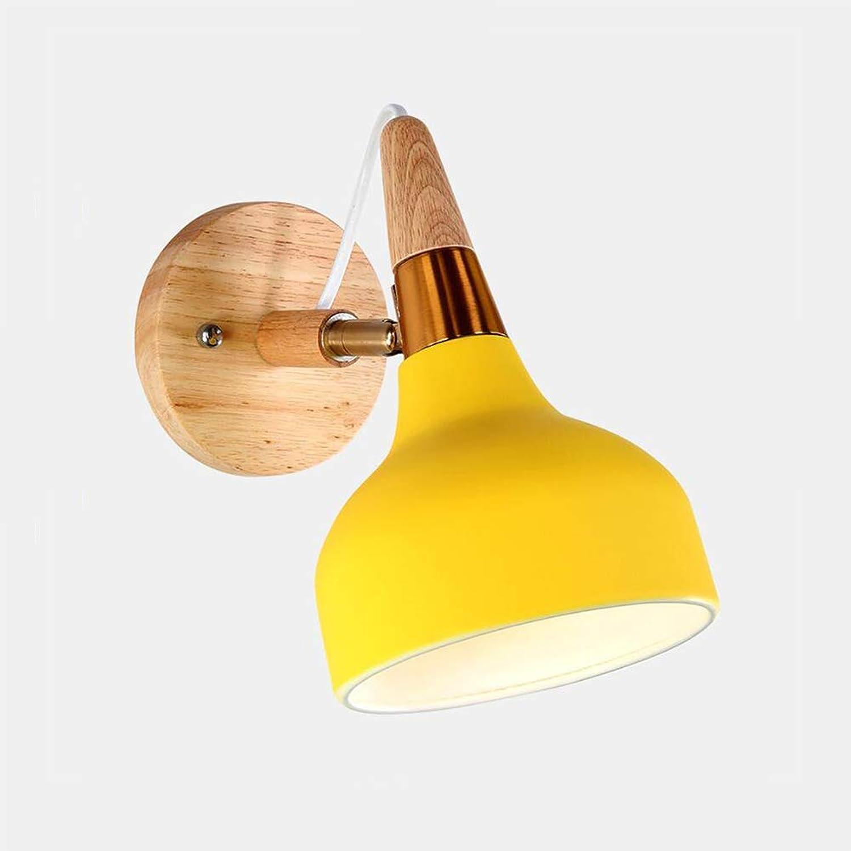 FSX Wandleuchten, Nordic Wandlampen Macaron Edison Kupferlampe Nachtleselampe E27 (Glühbirne Nicht enthalten),Gelb