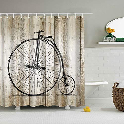 LJJJZS Fahrradfelge Polyester Wasserdicht Multigröße Duschvorhang Bad Vorhang Mit 12 Haken 150 * 180 cm