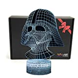 LED 3D Optical Illusion Smart 7 Colors Night Light Desk Lamp with USB Cable (Darth Vader)