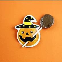 ZHUOTOP 50Pcs Halloween Candy Holders Card Cute DIY Pumpkin Ghost Lollipop Sticker for Treat Or Trick Orange Pumpkin