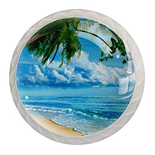 Coconut Tree Surf Beach Weiß Kristall Schublade Kommodenknopf Möbel Glasschrank Kommodengriff Garderobe Tür Schublade Möbelknopf zieht mit Schrauben für Home Kitchen Office 4 Stk 35mm