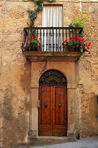 Tuscany, Italy - Village Balcony - Photography A-92505 (9x12 Art Print, Wall Decor Travel Poster)