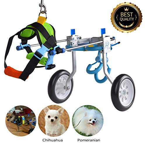 HiHydro Cart Pet Wheelchair for Handicapped Hind Legs Small Dog Cat /Doggie /Puppy walk Stainless...