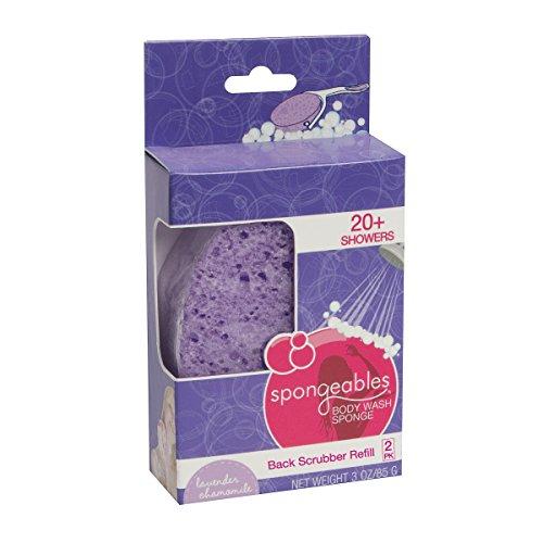 Spongeables 40 Plus Back Scrub Infused Sponge Refills with Purple Lavender Chamomile Scent - 2 Piece