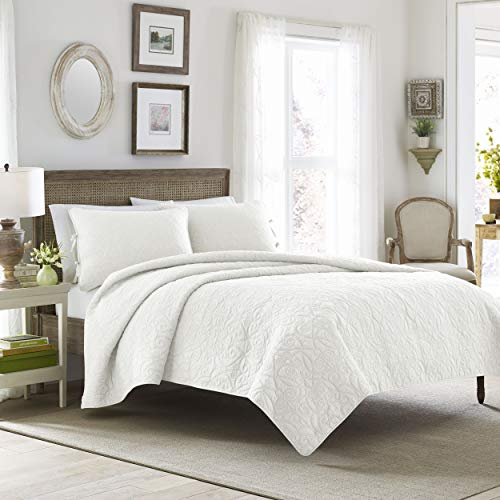 Laura Ashley | Felicity Collection | Quilt Set-Ultra Soft All Season Bedding, Reversible Stylish Coverlet With Matching Sham(s), Full/Queen, White