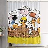LIUYAN Duschvorhang mit Haken – Snoopy with Friends Wasserdichter Polyester-Stoff für das Badezimmer Deko, 152,4 x 182,9 cm
