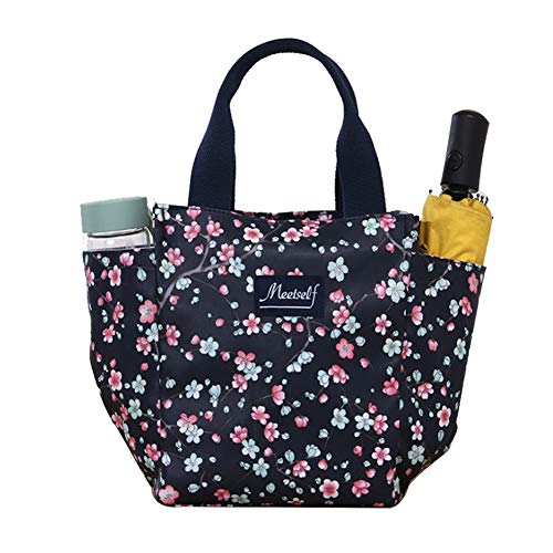 Small Lunch Bag Box Cute Tote Handbag with Water Bottle Holder for Women Mom Snack Bag Plum blossom