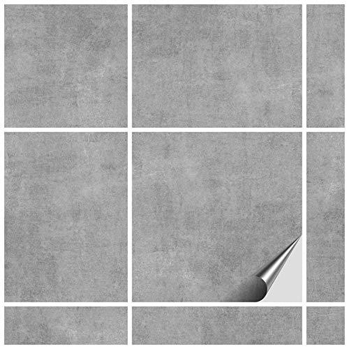 FoLIESEN Fliesenaufkleber 15x15 cm - Fliesen-Folie Bad - Klebefolie Küche - 70 Klebefliesen + Rakel, Dekor Greydi