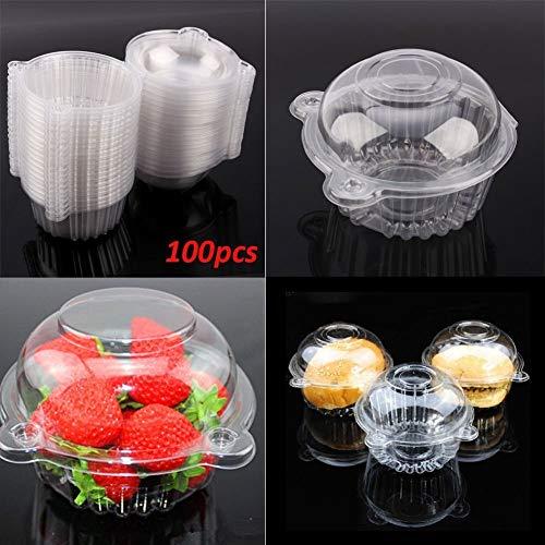 Trasparente Capsula di Cupcake, 100Pezzi Unico Plastica Scatola di plastica monouso per Torta Torte Muffin Cupcake Scatola di Regalo Box