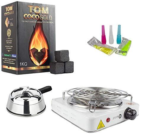 Pack Completo para Shisha, Hornillo 1000W con Rejilla, Regulador de Calor, 50gr de Hierba, 1KG carbón TOM COCOCHA Gold Premium (P1 Plateado)