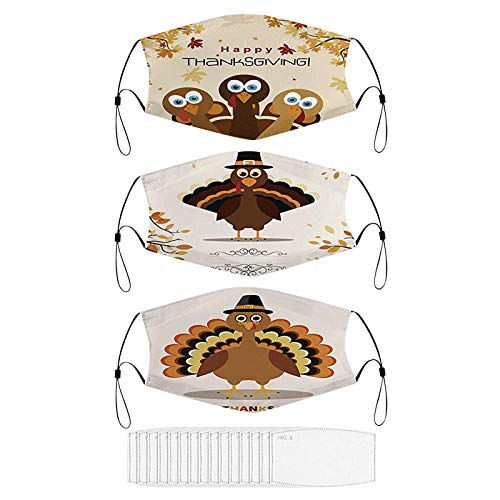 Stoota Halloween & Thanksgiving Face Masks, Anti-Dust Reusable Washable Protective Balaclava, Windproof Adjustable Cover (Multicolor A1-3pc, One Size)
