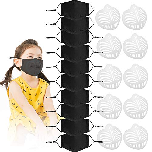 10 Pack Face Cotton Fabric Cloth Protect Kids Children Reusable Washable Safety for Dust Protection With 10 3D Silicone Inner Supports to breathe comfortable