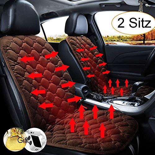 STYLINGCAR stoelverwarming auto zitkussen verwarmbaar zitkussen zwart/koffie + stopcontact, voor bestuurdersstoel, bijrijdersstoel, achterbank 2 Kaffee Vordersitzkissen