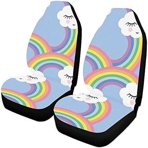 XL stoelhoezen naadloos patroon glimlachende slapende wolken regenbogen auto stoelhoezen beschermer voertuig