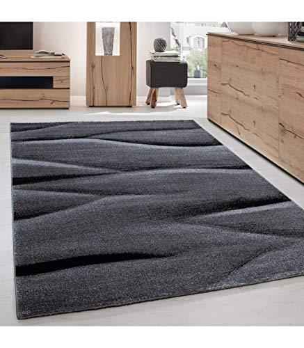 Vloerkleed, modern, design, woonkamer, abstract, golfpatroon, grijs/zwart 160x230 cm zwart