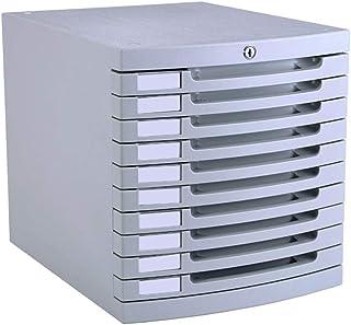 Module de rangement Armoire de Bureau 10 tiroirs avec classeur gris clair en plastique de classeur 30 * 38 * 31.5cm