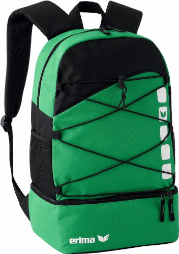 Erima CLUB 5 Multifunktionsrucksack mit Bodenfach, Smaragd/schwarz, Einheitsgröße