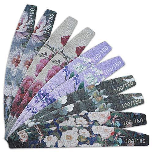 URAQT Nagelfeilen 100/180, 10 Stück Nagelfeile Set, Doppelseitige Einweg Buffer Block Buffer Boards, Nagelfeilen atürliche Nägel und Gelnägel Verschleißfest Waschbar (Blumen)