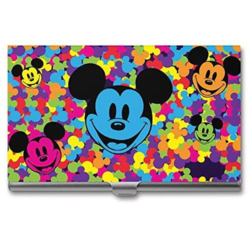 Funda para tarjetas de Mickey Mouse de dibujos animados de aluminio con bloqueo RFID, organizador de tarjetas de nombre para hombres y mujeres