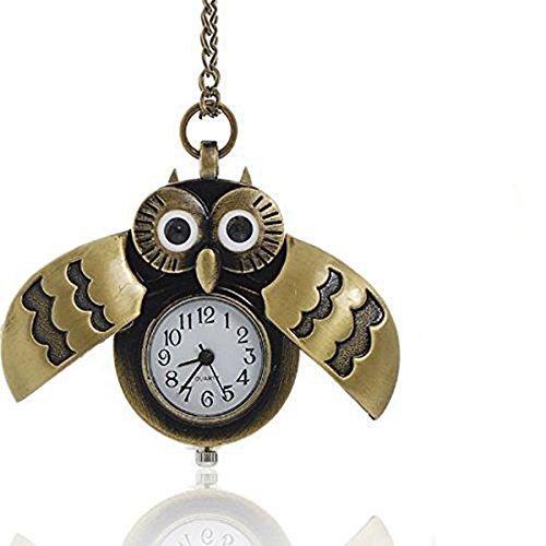 SEXY SPARKLES Reloj de bolsillo para mujer, diseño de búho con cadena y alas abiertas y cerradas, batería incluida