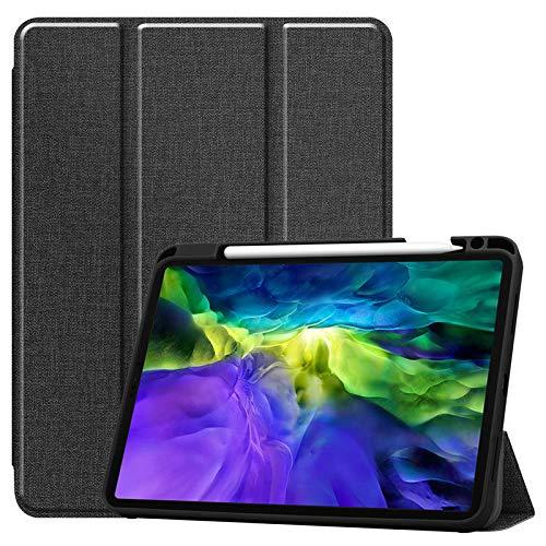 WAZS Tablet-hülle Kompatibel Mit Pad 2020 Hülle 12,9 Zoll, Mit Federhülle Ledertasche, Magnetische Smart Falthülle Schlanke, Leichte Shell-ständerabdeckung schwarz
