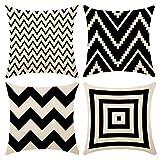 Geometría - Juego de 4 cojines decorativos de algodón y lino con cremallera invisible para cojines de sofá, 45 x 45 cm (blanco y negro)