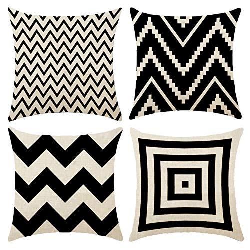 Fundas de Cojín, Juego de 4 Funda de Cojines con cremallera invisible para cojines de sofá, 45 x 45 cm (blanco y negro)
