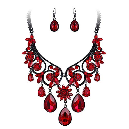 BriLove Women's Tribal Ethnic Crystal Chunky Statement Necklace Dangle Earrings Set Ruby Color Black-Silver-Tone.
