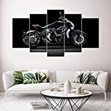 Canvas Wall Art 150X80 cm Non-Woven Canvas Prints Image Framed Artwork Painting Photo Home Decoration 5 Part Panels Canvas Ducati Xdiavel Motorcycle (ZYJ927)