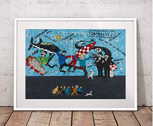 JYSHC Imprimir En Lienzo Las Aventuras De Tintin Cuadro De Lienzo Personajes De Dibujos Animados Póster Mural Decoración De La Habitación Tk82Zm 40X60Cm Sin Marco