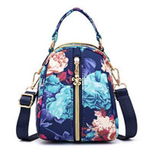 CZHJG Rucksack Mode Kopfhörer Loch Frauen Einzelne Schulter Messenger Bag Wasserdicht Nylon Handytasche Fantasie Blume