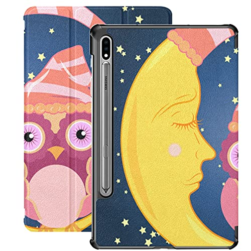 Cute Sleep Owl with Moon Stars Open Close Eye Fundas Galaxy Tab A para Samsung Galaxy Tab S7 / s7 Plus Funda Samsung Galaxy Tab S7 con Soporte para Libro Funda Trasera Samsung Galaxy Tab S7