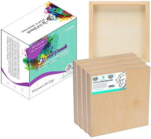 Daveliou, tavola di legno per dipingere, 25x 25cm, 5 pannelli in legno di betulla, per bricolage, set utilizzato da artisti, per artigianato, pittura e encausto