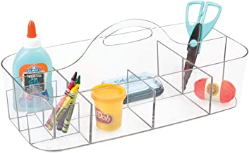 mDesign Plastic Portable Craft Storage Organizer Caddy Tote, Divided Basket Bin with Handle for Craft, Sewing, Art Supplie...