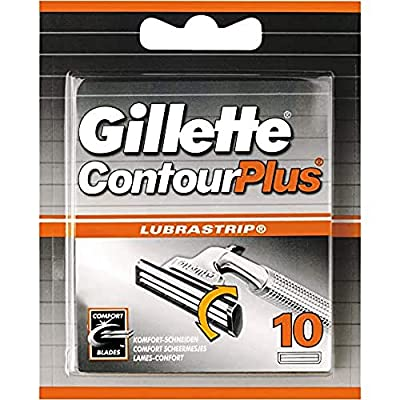 Gillette Contour Plus Razor Blades for Men with Comfort System, Pack of 10 Refill Blades