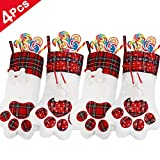 4 Pieces Pet Dog Christmas Stockings Bags Large Paw Hanging Stockings Plaid Christmas Stockings Xmas Tree Ornaments for Christmas Decorations