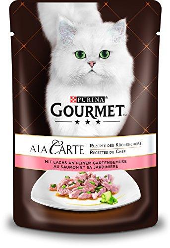 PURINA GOURMET A la Carte Katzenfutter nass, mit Lachs und Gemüse, 24er Pack (24 x 85g)