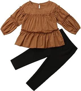 Toddler Kids Girl Thanksgiving Outfit Long Sleeve Top Blouse Tutu + Leggings Pants Autumn Winter Christmas Clothing Set