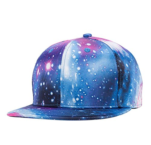 Quanhaigou Galaxy Snapback Unisex Hat Hip Hop Plaid Flat Brim Adjustable Baseball Cap Blue