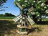 Windmühle Solar XXL, PREMIUM, WETTERFEST, Garten- und Teich-Windmühle 130 cm, zweistöckig 2 Balkone aus Holz, garten windmühlen mit Seitenruder/Windfahne, komplett mit Solar, Solarbeleuchtung DOPPEL-
