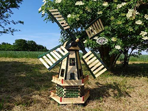 BTV Stabile Holz-Windmühle,WETTERFEST, Gartenwindmühle 100 cm, zweistöckig MIT 2 BALKONEN,WETTERFEST, Garten windmühlen, ohne/mit Solar, WMH100gr-OS 1 m groß grün moosgrün grasgrün Naturholz