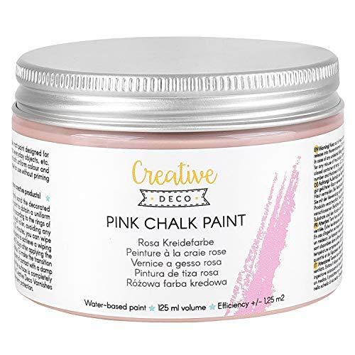 Creative Deco Rosa Pintura de Tiza   125 ml   Mate y Lavable Renovación de Muebles, Decoración y Decoupage   Posible Efecto de Gradiente