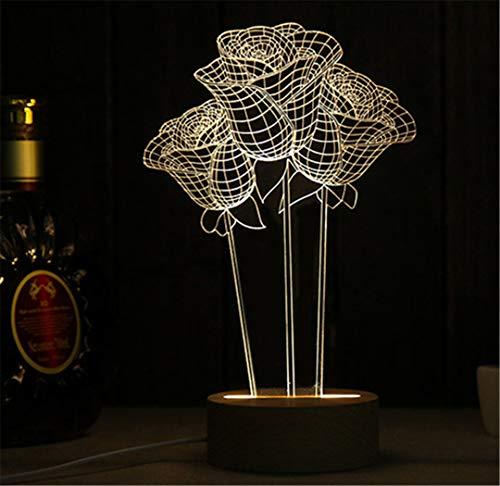 11 Arten Buchenholz Basis USB LED 3D Illusion Lampe Eiffelturm/Karussell/Pegasus Nachtlicht für Kinder Geschenk Schlafzimmer Tischlampe show as the picture1